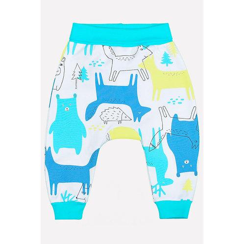 К 4634/бирюзово-голубой(зимние звери) брюки