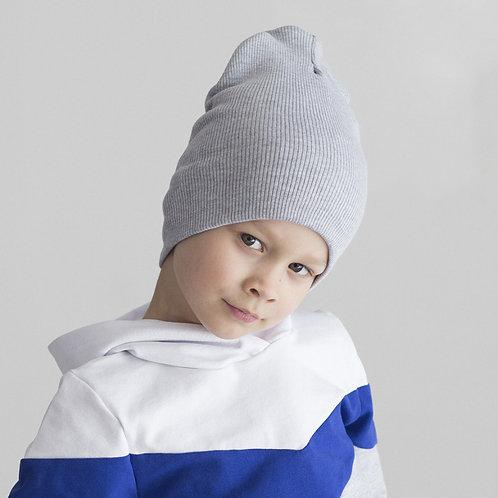 ШВ19-03271390 Удлинённая шапка лапша, серый меланж