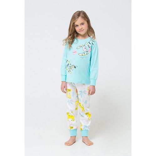 Пижама для девочки К 1512/мятная конфета+леопарды на сахаре