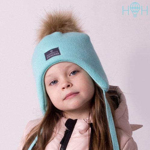 ШЗ20-02621727-4 Зимняя шапка  с искусственным помпоном+ снуд