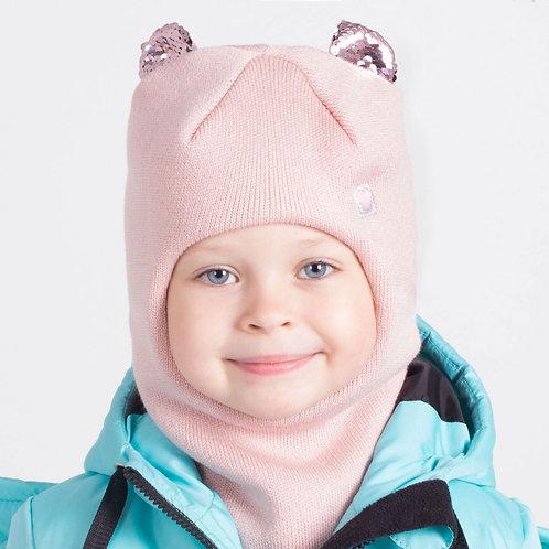 ШЗ20-59361781 Зимняя шапка-шлем с маленькими ушками из пайеток, пудра