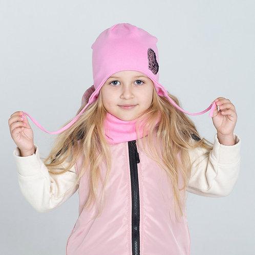 ШВ20-90310419 Шапка с завязками с завязками, с наклейкой, розовый