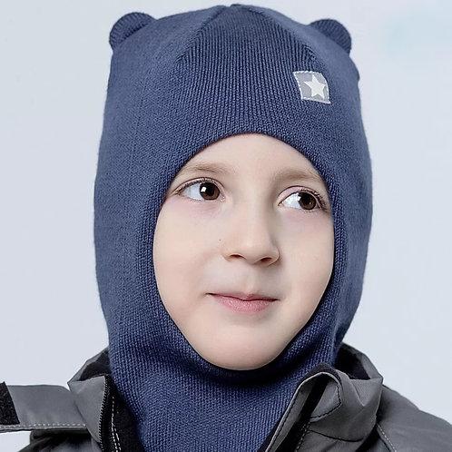 Шапка-шлем демисезонный с маленькими ушками, хб подклад индиго