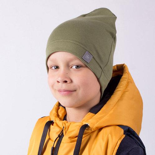 """ШЛ20-08610456 Однослойная шапка с нашивкой """"Воздушный шар"""", хаки"""