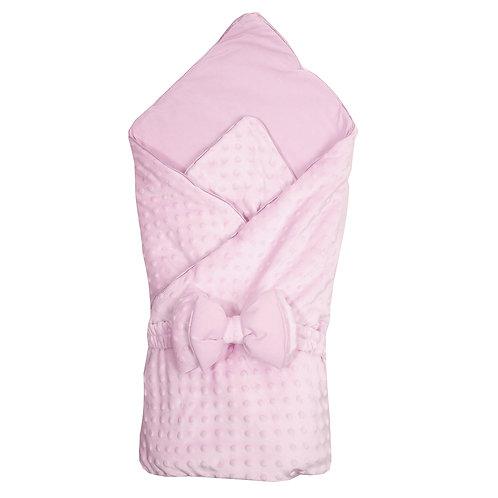 """К11215 Одеяло на выписку 90х90, бант на резинке """"Нежность"""", розовый"""