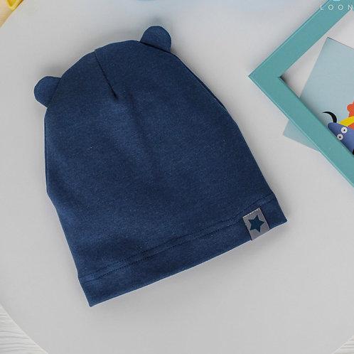 """КШЛ20-47850445 Однослойная шапка с ушками медведя и нашивкой """"Маленькая звезда"""""""