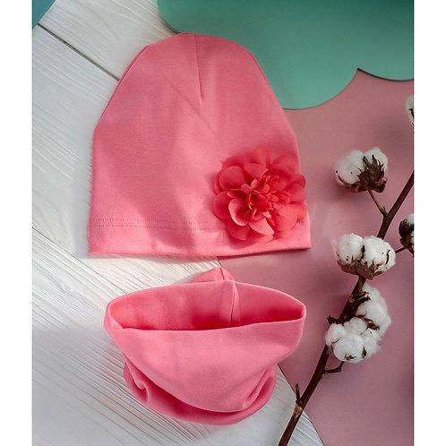 Шапка однослойная,розовый с цветком