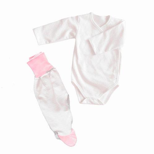 Комплект боди и ползунки, футер, белый+розовый