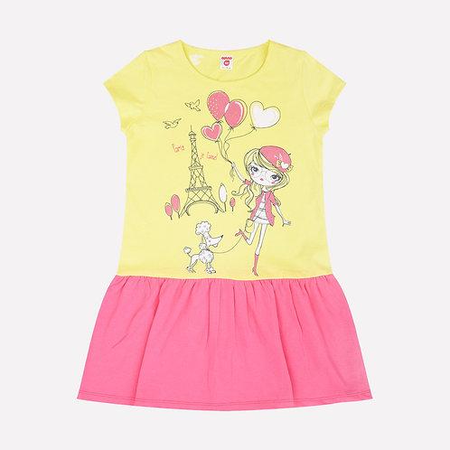 Платье K 5511/бл.лимон+спелый арбуз