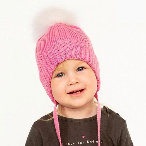 Шзв-0210 Шапка зимняя с натуральным помпоном, розовый, хб подклад, утеплитель