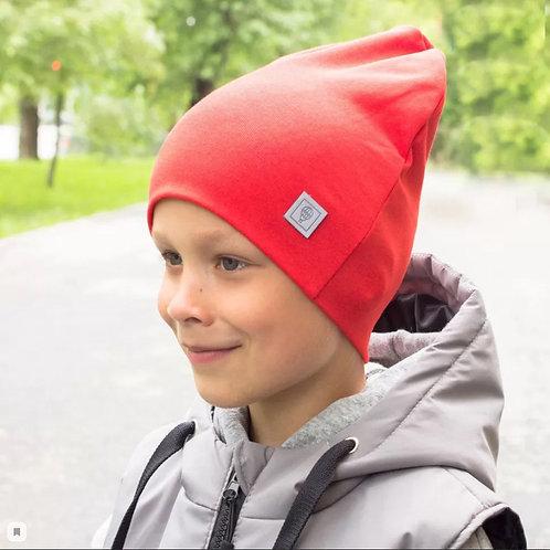 ШВ20-17030456 Двухслойная трикотажная шапка с шевроном, красный