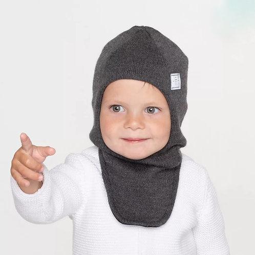 Шапка-шлем демисезонный со светоотражающим шевроном, хб подклад, темно-серый