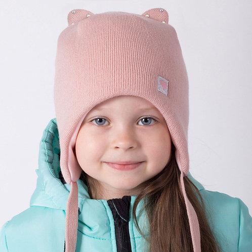 ШЗ20-56221728 Зимняя двухслойная шапка с завязками,с  ушками и нашивкой, пудра