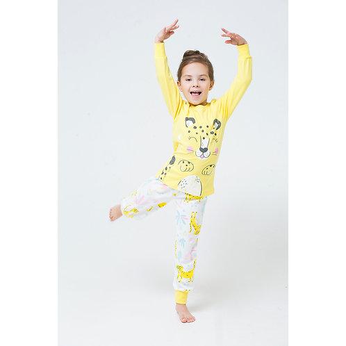 Пижама для девочки К 1512/сочный лимон+леопарды на сахаре