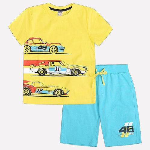 К 2566/желтый+голубой Костюм ДМ футболка +шорты