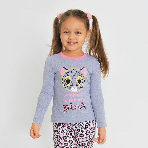 Джемпер для девочки  Розовый леопард-1  Меланжево-серый