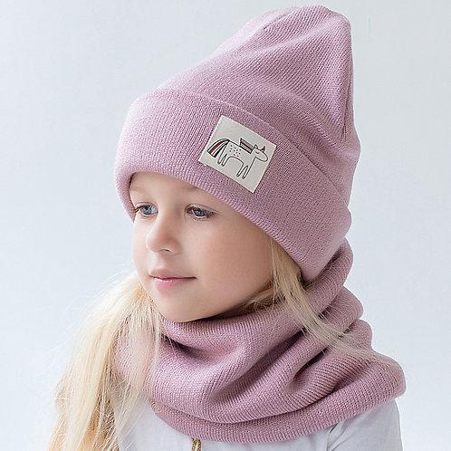 ШЗ20-75361716 Зимняя вязаная шапка с подворотом с нашивкой единорог, пудра