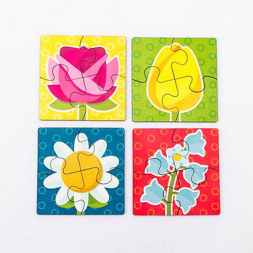 Пазлы для малышей 4 шт, Цветы, 099109