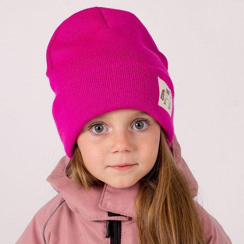 ШЗ20-75391716 Зимняя двухслойная шапка с подворотом+ снуд малиновый