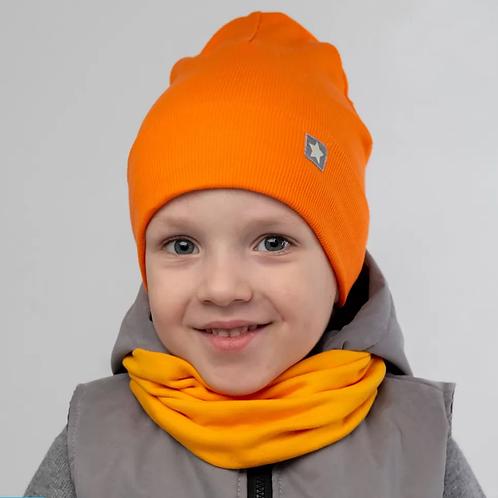 ШВ20-18041328 Шапка двухслойная, с подворотом и маленькой звездочкой, оранжевый