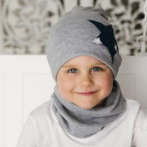 Двухслойная шапка «Звездочка», серый меланж