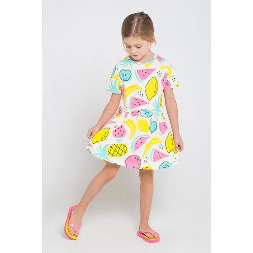 K 5493/K1234 Платье тропич фрукты на желтом