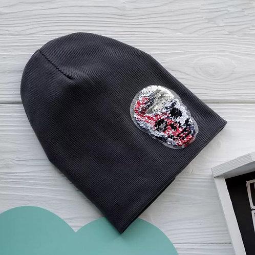 ШВ20-03221380 Двухслойная трикотажная шапка лапша с черепом из пайеток, т.-серый