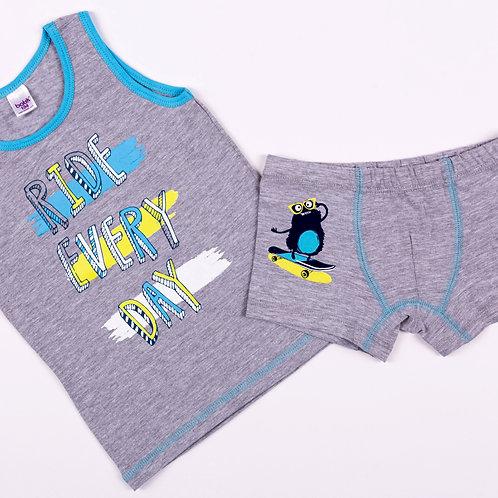 01235_BAT Комплект (майка+боксеры) для мальчика супрем серый меланж