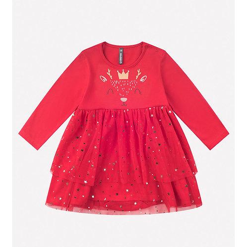 Платье-боди для девочки К 6234/красный Платье-боди для девочки