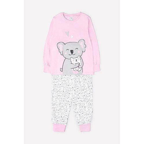 Пижама для девочки К 1512/розовый+коалы на сахаре