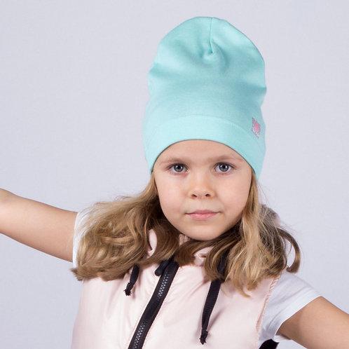 """ШЛ20-08620481 Однослойная шапка с нашивкой """"Маленькое сердечко"""", мята"""