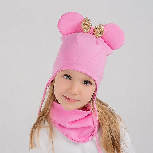 ШВ19-27310401 Шапка Мышка с золотым бантом из пайеток с завязками, розовый