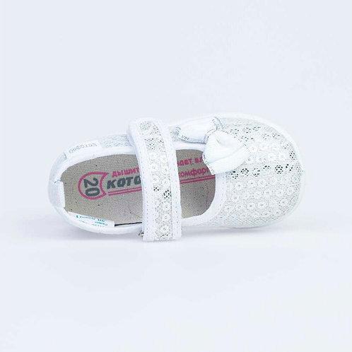 131138-11 серебристые туфли ясельно-малодетские текстиль белый