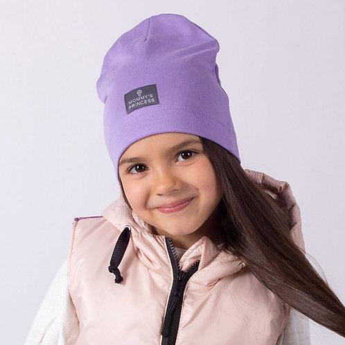 """ШЛ20-08910427 Однослойная шапка с нашивкой """"Mommy's Princess"""", сиреневый"""