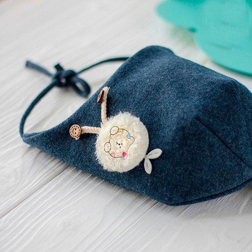 ШВ20-90850458 Шапка , с завязками и нашивкой мишка, индиго , Снуд к шапке