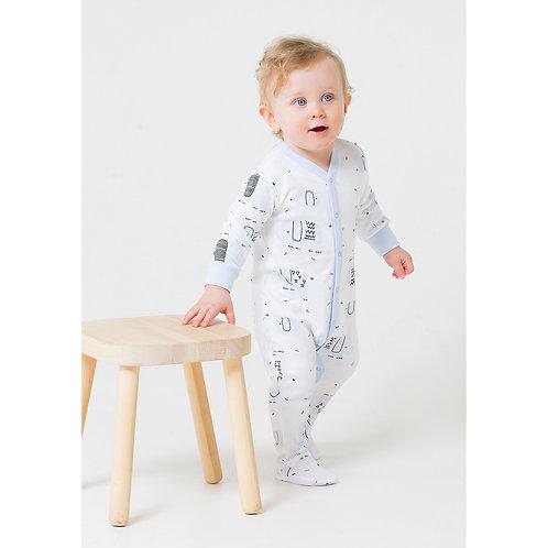 Комбинезон для мальчика К 6291/графичные слоники на белом