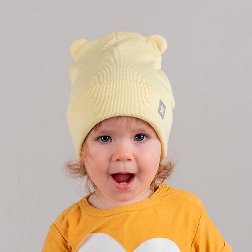 ШВ20-24051328 Двухслойная шапка с подворотом мишка с маленькой звездочкой, лапша