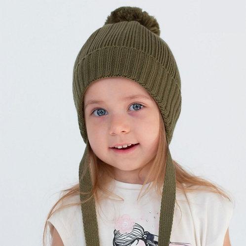 ШЗВ-0111  Зимняя шапка-шлем, пудра 46-50 с пампоном из пряжи хаки