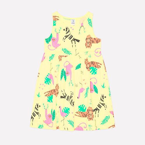 Платье для девочки К 5589/бледный лимон,звери саванны