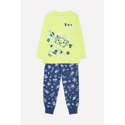 Пижама для мальчика К 1553/салатовый+роботы на тем.синем