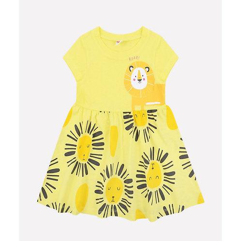 Платье для девочкиК 5601/бледный лимон,львята