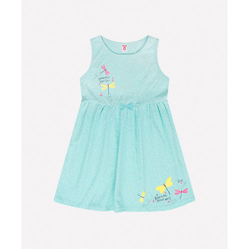 Платье K 5520/маленький горошек на антил.голубом