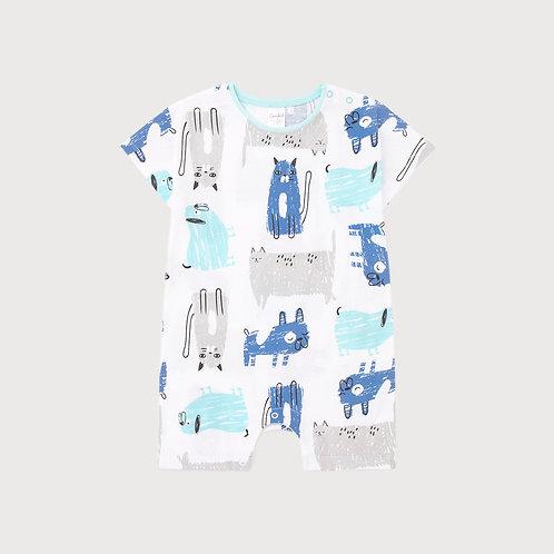 Песочник для мальчика К 6294/аквамарин кошки,собаки на белом