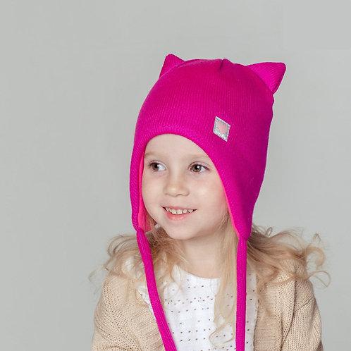 ШЗ20-58391781 Шапка кошка зимняя с завязками и нашивкой , малиновый+ снуд
