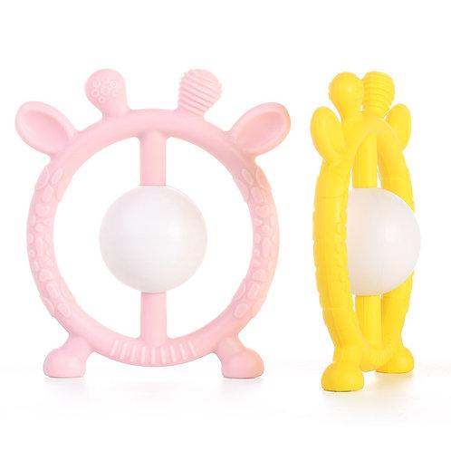 Погремушка- прорезыватель  из пищевого силикона, розовый