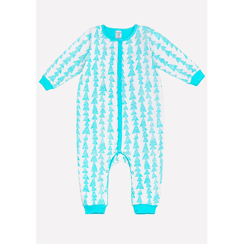 Комбинезон для мальчика футер К 6231/бирюзово-голубая полоска-елочки