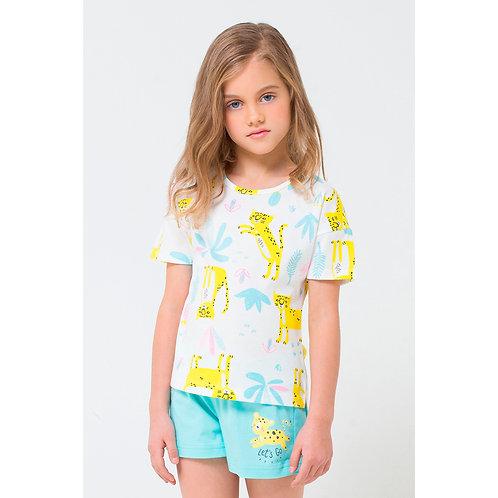 Пижама для девочки К 1535/леопарды на сахаре+мятная конфета