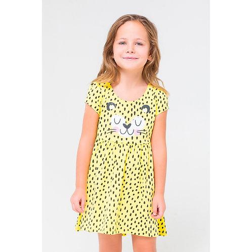 Платье для девочки К 5593/сочный лимон,крапинка