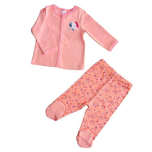 02018_BAT Комплект кофточка дл.рукав+ ползунки д/девочки розовый интерлок