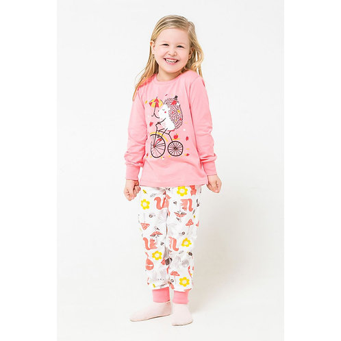 Пижама для девочки 1512/спелый персик+лесные зверята на сахаре